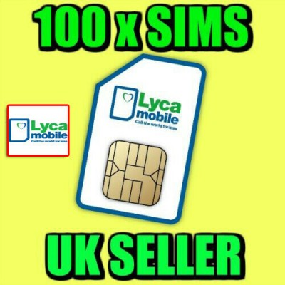 100 x Lycamobile Pay As You Go Sim Cards