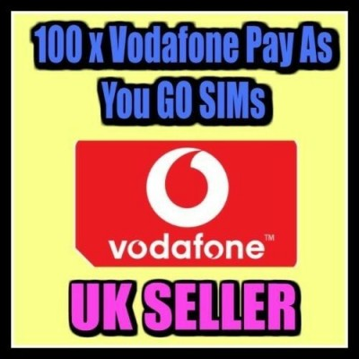 100 x Vodafone Pay As You Go Sim Cards