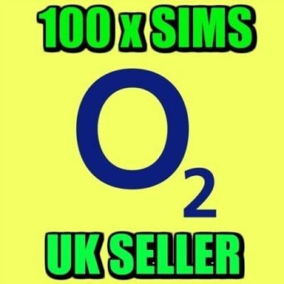 100 x O2 Pay As You Go Sim Cards