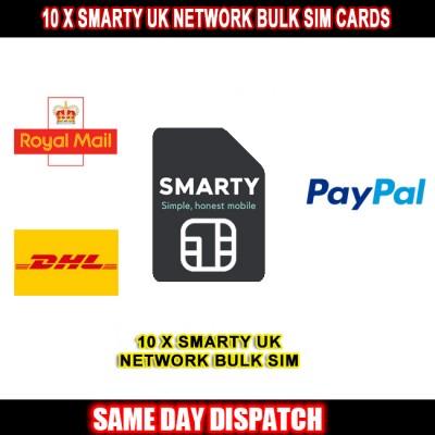 10 x Smarty UK Network Bulk Sim Cards