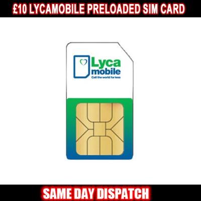 £10 Lycamobile Preloaded SIM Card