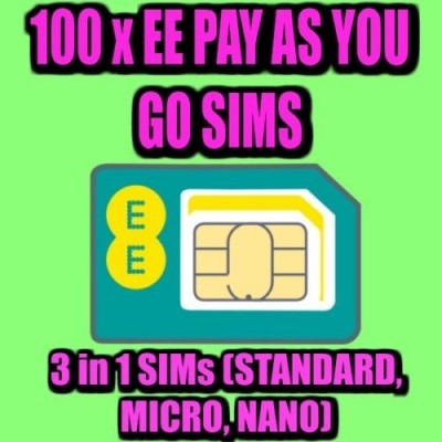 100 x EE PAY AS YOU GO 4G SIM CARDS